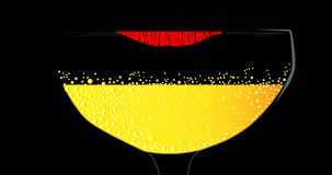 Lipstick on a Wine Glass Stock Photo