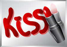 Lipstick and word kiss Royalty Free Stock Photos