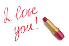 Lipstick and words I love you! Royalty Free Stock Image
