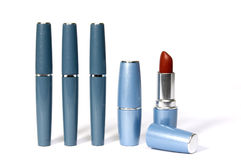 Lipsticks. A line from lipsticks. One lipstick is opened Stock Photo