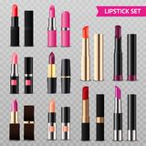 Lipsticks Assortment Realistic Set Transparent. Assorted colors lipsticks set from glossy intense red to matte nude pink realistic transparent background vector Stock Image