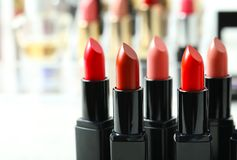 Lipsticks in different shades,. Closeup Royalty Free Stock Photo