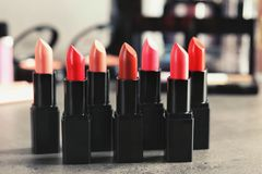 Lipsticks in different shades. Closeup Royalty Free Stock Image