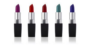 Lipsticks in a line Royalty Free Stock Photo