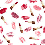 Lipsticks and lip  prints. Seamless pattern  with lipsticks and lip  kisses Stock Images
