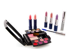Lipsticks and make up box Royalty Free Stock Photo