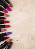 Lipsticks. On a marble background Stock Photo