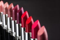 Lipsticks in a row Royalty Free Stock Photography