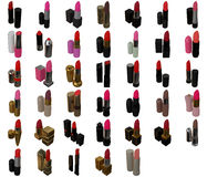 Lipsticks Set On White Background Stock Photo
