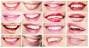 Lipsticks. Set of Women's Lips. Toothy Smiles royalty free stock photography