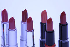 Lipsticks in various colors Royalty Free Stock Photos