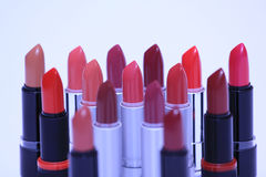 Lipsticks in various colors Stock Photo