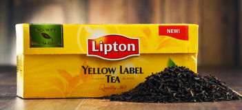 Lipton etykietki żółta herbata Zdjęcia Stock