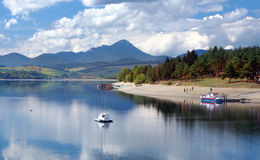 Liptovska Mara with boats, Slovakia stock photos