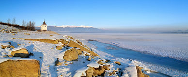 The Liptovska Mara lake in the winter stock photography