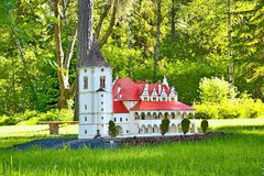 Liptovsky Jan, Slovakia - May 28. 2017: Miniature of the Ancient Town Hall in Levoca in the ratio 1 : 25. Beautiful royalty free stock image