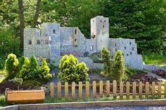 Liptovsky Jan, Slovakia - May 28. 2017: Miniature of the Strecno castle in the ratio 1 : 25. Beautiful Slovakia. stock photos
