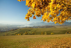 Liptovsky Mikulas, Haj - Nicovo, Slovakia. Autumn leaves over dam Liptovska Mara Stock Image