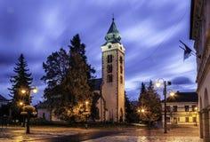 LIPTOVSKY MIKULAS, SLOWAKIJE - bekijk aan de gebouwen in het stadscentrum van Liptovsky Mikulas Liptovsky Mikulas Stock Afbeeldingen