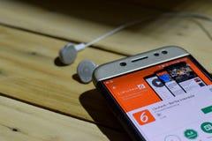 Liputan6 -在智能手机屏幕上的Berita印度尼西亚应用 免版税图库摄影