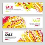Liqid颜色在框架的销售背景 免版税库存图片