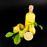 Liqour de citron (limoncello) Photos libres de droits