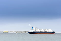 Liquefied natural gas tanker. At the port Stock Photo