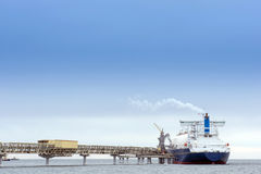 Liquefied natural gas tanker. At the port Royalty Free Stock Image