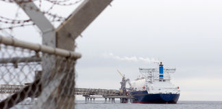 Liquefied natural gas tanker. At the port Stock Images
