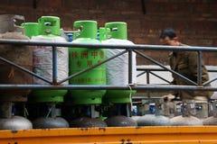 Liquefied oljagasbehållare Fotografering för Bildbyråer