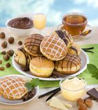 Liqueur and chocolate donuts Stock Photography