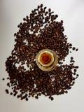 Liqueur coffeelique coffeebeans whitebackground brownbeans Royalty Free Stock Photo