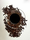Liqueur coffeeliqueur beans coffeebeans Royalty Free Stock Photo