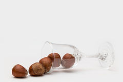 Liqueur glass with nuts Royalty Free Stock Images