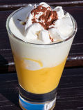 Liqueur with whipped cream and cocoa powder, eggnog Royalty Free Stock Photography