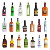 Liqueur, whiskey, vodka and other bottles of alcoholic drinks. Vector pictures in flat style. Alcohol bottle vodka and whiskey, liqueur and wine illustration Royalty Free Stock Photos