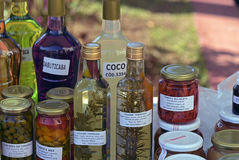 Liqueurs, spices, preserves and handmade candy Royalty Free Stock Photos