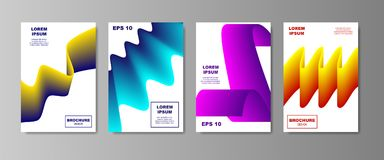 Liquid abstract backgrounds color covers set. Dynamic fluid shapes. Catalog page with smooth gradient. vector. Illustration EPS 10 Stock Photos