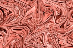 Liquid Abstract Pattern With Living Coral Graphics Color Art Form. Digital Background With Liquid Flow. stock image