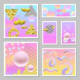 Liquid Abstract Templates Set. Fluid Colors with Golden Glitter Geometric Elements. Poster, Banner, Cards, Brochure, Cover. Flyer Backgrounds. Vector Stock Photo