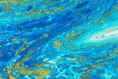 Liquid acrylic- color blot. Fluid art- marbled effect. Abstract artwork- stain, splashes, smearing the dye. Liquid acrylic- color blot. Pigment water background stock image