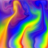 Liquid background in rainbow hues. Liquid like abstract background in yellow, blue, pink, orange and violet hues and colors. Abstract background Stock Image