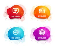 Love message, Seo and Send mail icons. Globe sign. Dating service, Search target, Sent message. Internet world. Vector. Liquid badges. Set of Love message, Seo royalty free illustration