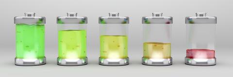 Liquid batteries Stock Photo