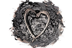 Liquid bitumen blot with a heart Royalty Free Stock Images