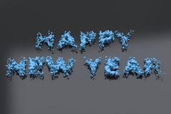 Liquid blue Happy New Year words with drops on black background. New year sign. 3D rendering illustration Stock Images