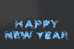 Liquid blue Happy New Year words with drops on black background. New year sign. 3D rendering illustration Royalty Free Stock Image