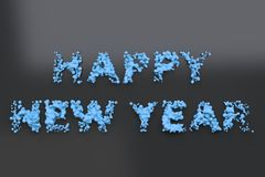 Liquid blue Happy New Year words with drops on black background. New year sign. 3D rendering illustration Stock Image