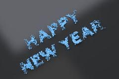 Liquid blue Happy New Year words with drops on black background. New year sign. 3D rendering illustration royalty free illustration