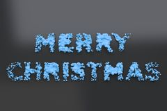 Liquid blue Merry Christmas words with drops on black background. Christmas sign. 3D rendering illustration Royalty Free Stock Images